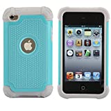 iPod 4 Case, MagicSky Shock-Absorption/Impact Resistant Bumper Slim protective Case Cover (Hard Plastic Outer + Rubber Silicone Inner) for iPod Touch 4th Generation - Cyan