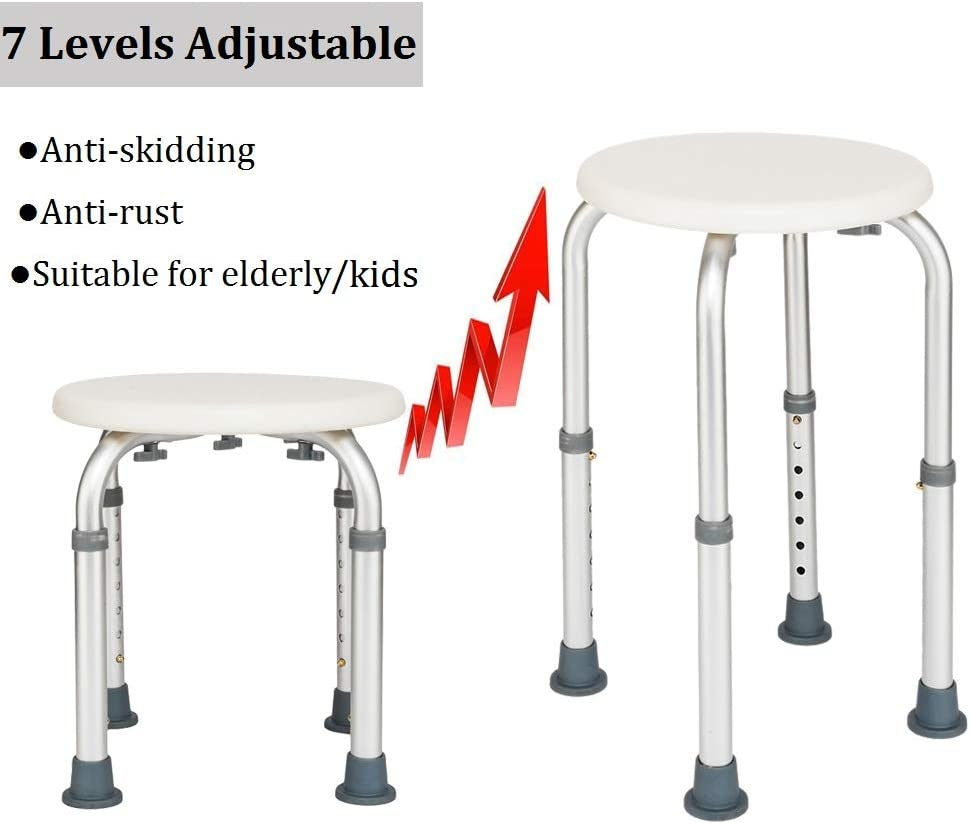 Ruorin Bath Shower Stool Adjustable Aluminum Alloy Elderly Bathroom Stool Kids Bathtub Chairs