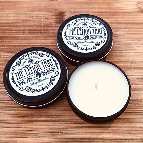- Lemon Tart Scented Candles || Set of Three 2oz Travel Tins ||Coconut Wax ||