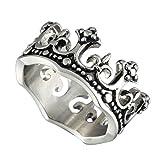 Men's Stainless Steel Ring Silver Tone Black Royal King Crown Knight Fleur De Lis Cross Band
