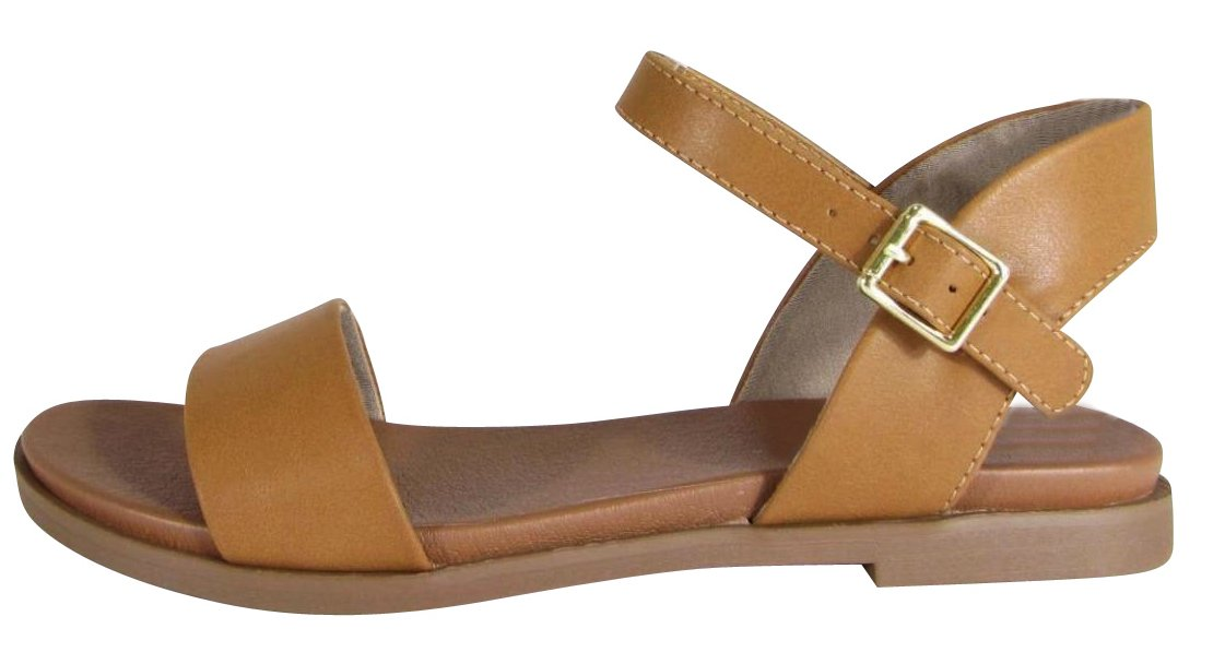 Cambridge Select Women's Open Toe Single Band Buckled Ankle Strap Padded Comfort Flat Sandal (7.5 B(M) US, Tan PU)