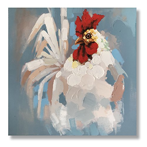 (White Cock Paintings 100% Hand Painted Cute Animal Oil Painting White Rooster Canvas Wall Art Stretched and Framed Ready to Hang Living Room Bedroom Office Bathroom 24x24 inches)