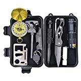 Tactical Knives Eachway Professional 10 in 1 Emergency Survival Gear Kit Outdoor Survival Tool with Fire Starter Whistle Survival Knife Flashlight Tactical Pen etc for Outdoor Travel Hike Field Camp