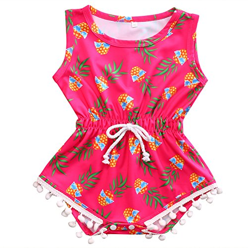 Baby Girls Cute Pineapple Print Romper Sleeveless Jumpsuit Bodysuit Climbing Clothes (18-24 Months, Rose Red)