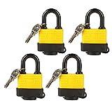 (Set of 4) LeaningTech LTC Universal Long Shackle Heavy Duty Multipurpose Padlocks with 2 Keys