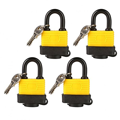 (Set of 4) LeaningTech LTC Universal Long Shackle Heavy Duty Multipurpose Padlocks with 2 Keys