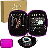 Lily & Drew Travel Jewelry Storage Carrying Case Jewelry Organizer with Removable Pouch