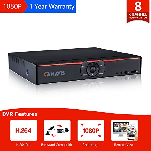CANAVIS 8 Channel 720P HD-TVI Standalone DVR H.264 CCTV Security Surveillance DVR Record System NO Hard Disk (Full 720P, 1080N ,QR Code Scan Quick Access, Smart phone& PC Easy Remote Access) (H.264 Pc)