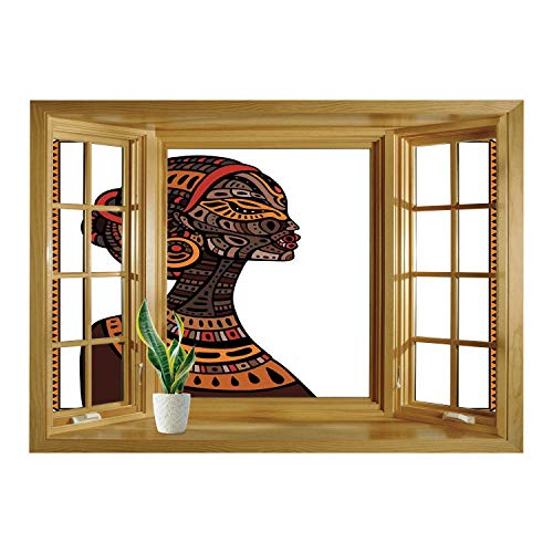 SCOCICI Window Mural Wall Sticker/African,Tribal Exotic Beauty Woman Figure with Traditional Mask Totem Illustration Decorative,Brown and Cinnamon/Wall Sticker -