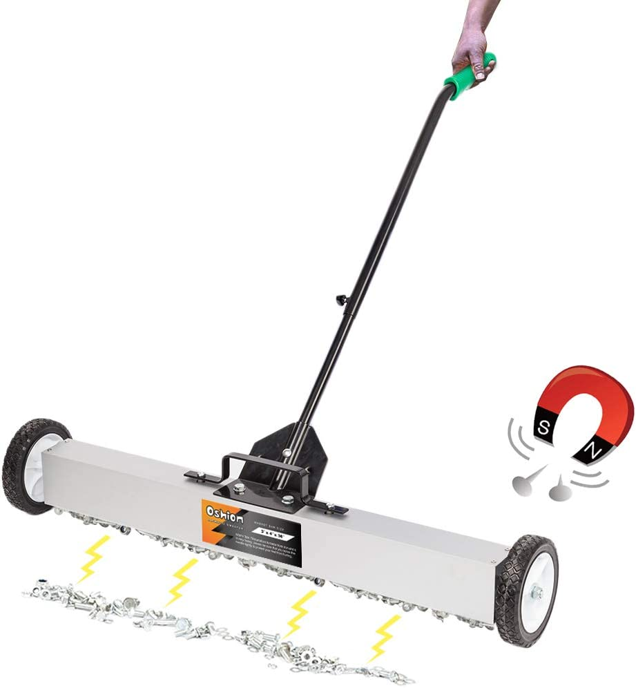 Henf Rolling Magnetic Sweeper, Heavy Duty Magnet Roller Magnetic Pickup Sweeper with Wheels, Quick Release Latch and Adjustable Long Handle for Nails Needles Screws Collection (36 Inch)