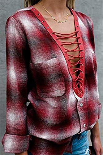 Shirt Fashion Dcontract Large Carreaux Mode Long Sangles Haut Manches Femme Manche Blouse Longue Automne Cou Vintage Printemps avec Chic Chemise Elgante Dame Tops Croises V Rouge AHW5HCq