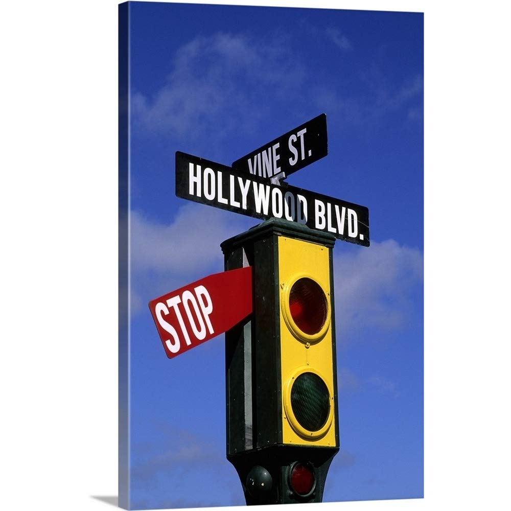 greatBIGcanvas Gallery-Wrapped Canvas Entitled California, Los Angeles, Hollywood Vine Stoplight John Bachmann 16''x24''