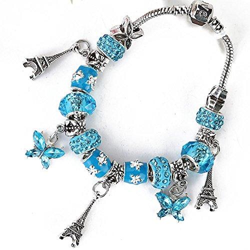 The Starry Night Eiffel Tower Blue Butterfly Pendant Alloy Beads Women Bracelet