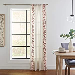 Stone & Beam Classic Vine Curtain Panel – 84 x 52 Inch, Rust / White