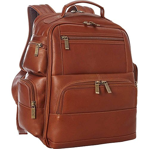 Claire Chase Executive Leather Laptop Backpack in Saddle ()
