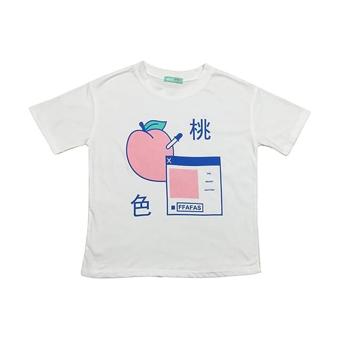 Amazon.com  Women s Kawaii Cotton Pastel Tops Tees Peach Pink Design ... 8aa27941a