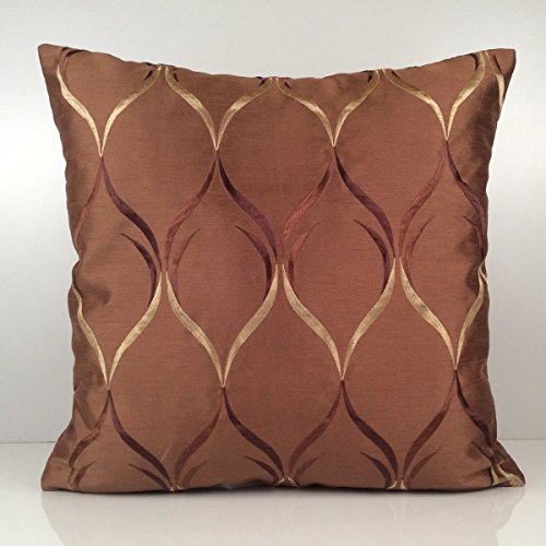 Cinnamon Silk (Cinnamon Copper Pillow Cover, Throw Pillow Cover, Decorative Pillow Cover, Cushion Cover, Accent Pillow Cover, Silk Blend, Light Tan and Brown Silk Embroidery)