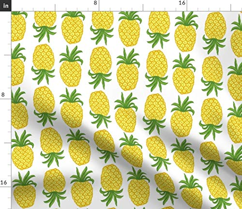 Pineapple Fabric - Greenery Topsy Turvy Summer Fruit Tropical Food Beach Trendy Magenta Rose Print on Fabric by The Yard - Sport Lycra for Swimwear Performance Leggings Apparel Fashion