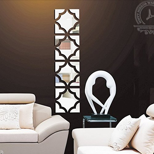 funlife 25x100cm 20pcs Flower Square Loop 3d Acrylic Mirror Wall Stickers Home Decoration DIY Home Decor