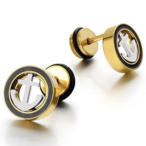 Stainless Gold Anchor Stud Earrings - 5
