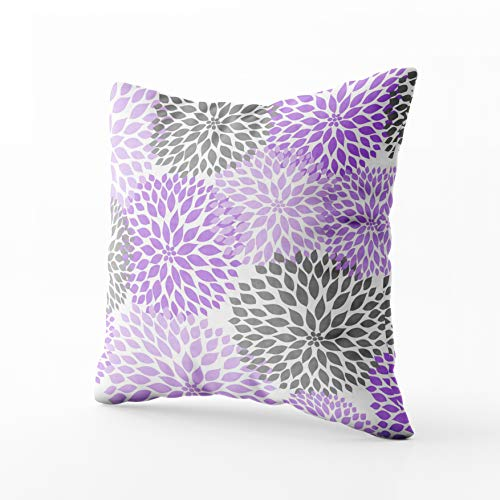 Musesh lavender and gray dahlia mums rectangular pillow Cushions Case Throw Pillow Cover For Sofa Home Decorative Pillowslip Gift Ideas Household Pillowcase Zippered Pillow Covers 18X18Inch ()