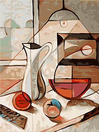 Wowdecor Paint by Numbers Kits for Adults Kids, DIY Number Painting - Abstract Dining Table 40 x 50 cm - New Stamped Canvas (No Frame)