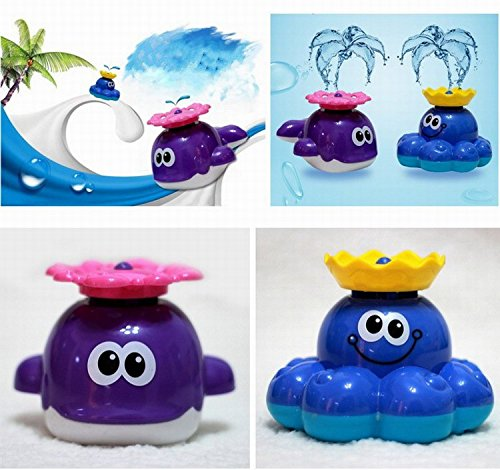 Baby Bath Toys Dabble Toy Rotating Fountain, Spray Water Park Bath Playset, Octopus Sprinkler Toy Water Play
