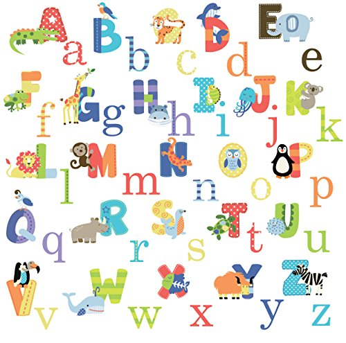 Animals Wall Cards - Animal Alphabet Baby Nursery Peel andStick Wall Art Sticker Decals