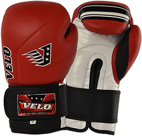 VELO Leather Boxing Gloves Kick boxing MMA Sparring Punch Bag Muay Thai Training