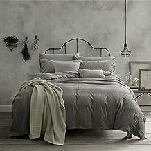 Doffapd Duvet Cover Queen, Washed Cotton Duvet Cover Set - 3 Piece (Queen, Light Gray)