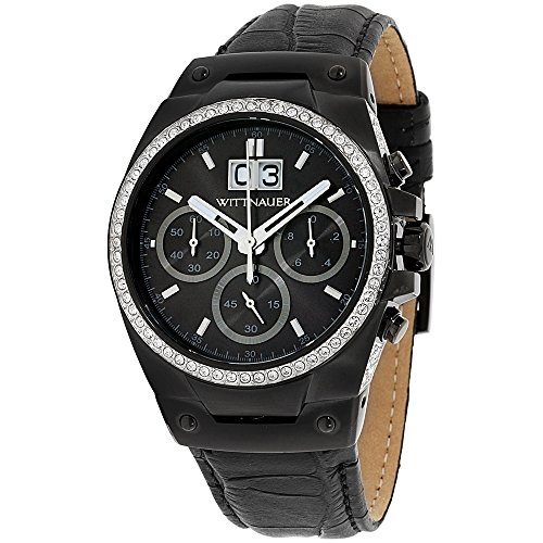 Wittnauer Mens WN1012 24.5 mm Leather Crocodile Black Watch - Mens Wittnauer Watches