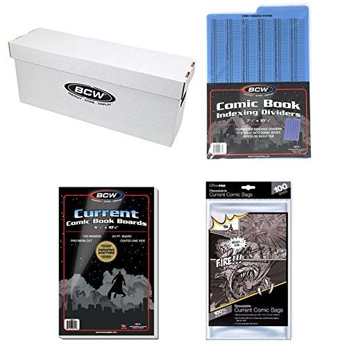 Bundle - BCW Comic Book Long Box & BCW Comic Book Boards 100-Pack & Ultra Pro Comic Book Bags (Resealable) 100-Pack & BCW Comic Index Dividers 10-Pack Various
