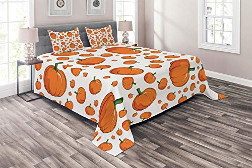 OUR WINGS Harvest Coverlet Set Queen Size, Halloween Inspired Pattern Vivid Cartoon Style Plump Pumpkins Vegetable, 4 Piece Decorative Quilted Bedspread with 2 Pillow Shams, Orange Green White -
