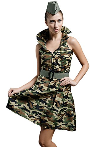 Women's Soldier Military Army Girl Camo Dress Up & Role Play Halloween Costume (X-Small/Small) - Pin Up Girl Costumes 40s