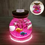 GoodFaith Micro Landscape DIY Bottle Night Light, Creative Beautiful Manual Switch Aquarium Light Durable Home Decoration Simulation Silt Tropical Fish LED Lamp Gift Box Pink