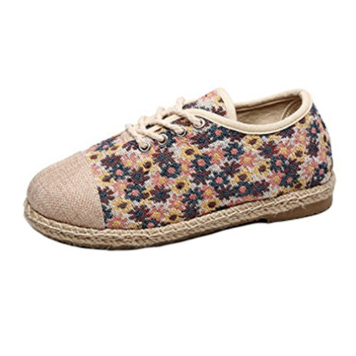 GIY Womens Retro Loafers Flat Moccasin Lace Up Floral Comfort Round Toe Linen Casual Oxford Shoes Blue MKNQuKN6V