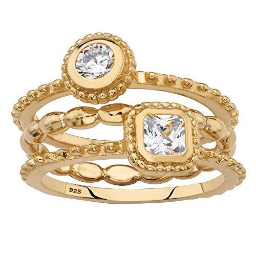 - 18K Yellow Gold Over Sterling Silver 3 Piece Stack Ring Set, Round and Square Cubic Zirconia