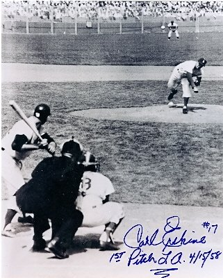 The First Pitch for the Los Angeles Dodgers photo autographed by pitcher Carl Erskine size ()