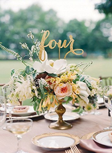 Amazon.com: Radiant Gold Table Numbers, Radiant Gold Wedding Color ...
