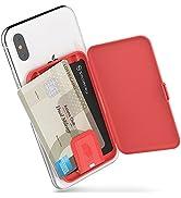 Sinjimoru Stick-On Card Case, Adhesive Card Holder/Ultra Slim Card Holder Case Usable as Phone Wa...