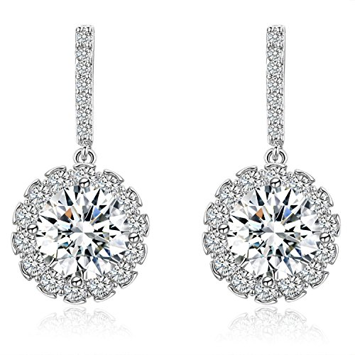 SBLING Platinum-Plated Sterling Silver Round Cubic Zirconia Halo Drop Earrings(3.5cttw)