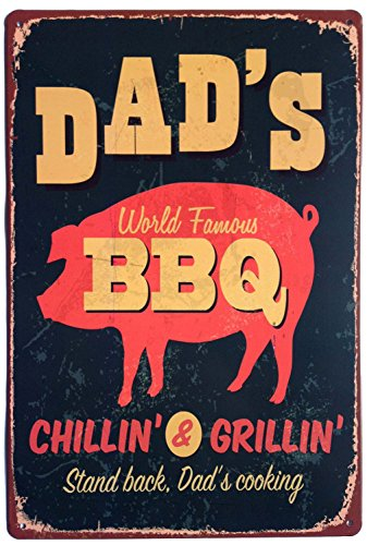 ERLOOD Dad's BBQ Stand Back Dad's Cooking Vintage Tin Sign Wall Decor 12 x 8