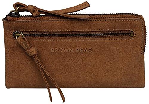 Brown Bear Geldbörse Damen Leder vintage Reißverschluss Elena w