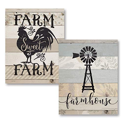 The Studio Resource, Inc. Country-Rustic Farmhouse Windmill & Farm Sweet Farm Rooster; 2-11x14: Unframed Paper Posters