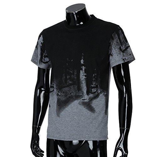 Chemise Été Manches Gris Top Casual Blouse T Sport Impression Col Amlaiworld shirts Hommes Courtes Rond À xPwOYF