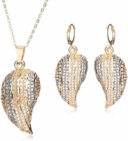 Moochi 18K Gold Plated Curved-Leaf Golden Chain Pedant Necklace Earrings Jewelry Set Party Dance