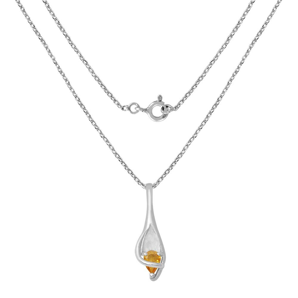 Nickel Free Cute and Simple Birthday Gift for Mother and Wife Orchid Jewelry 0.60 Ct Yellow Pear Citrine 925 Sterling Silver Pendant for Women