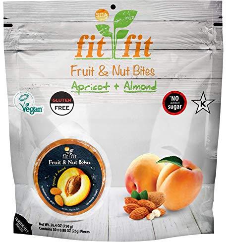 Modern Apricot - FitFit - Apricot & Almond Healthy Fruit & Nut Bites. Vegan. Gluten Free - (30 Discs per Bag)