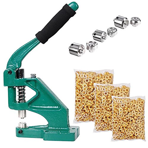 Yescom 3 Die (#0#2#4) Hand Press Grommet Machine and 900 Pcs Golden Grommets Eyelet Tool Kit
