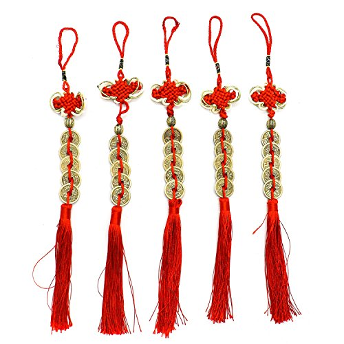 HUELE 5PCS Chinese Knot Decoration, Feng Shui Coins for Wealth and Success with Chinese Knot Lucky Coins Five Emperor Money ()